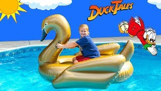 Assistant Works with Duck Tales Hunt for the Golden Swan with a HUGE Beach Ball