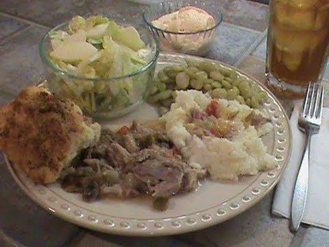Gravy on Pork plus Garlic Drop Biscuits