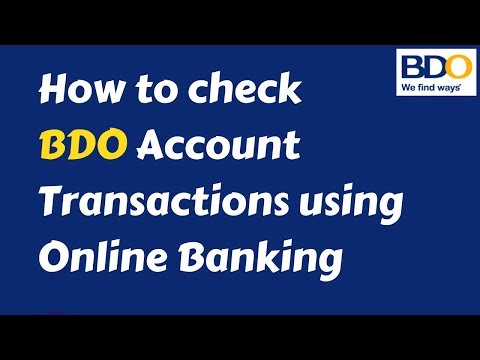 How to check BDO Account transactions using Online Banking