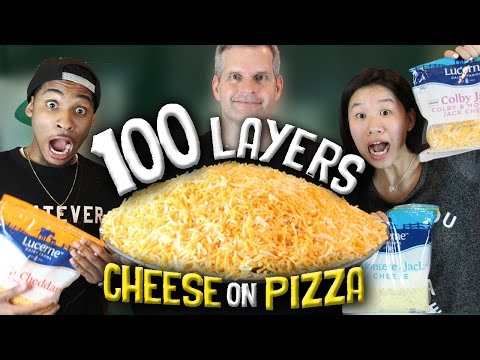 100 LAYERS CHALLENGE CHEESE ON A PIZZA!!!