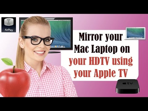 AirPlay Tutorial using an Apple TV a Macbook Air Laptop and an HDMI TV in Yosemite and Maverick! CC