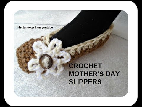 MOTHER'S DAY CROCHET SLIPPERS, video # 1573