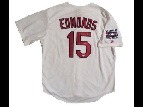 Jim Edmonds Autographed St Louis Cardinals 2006 World Series Signed Baseball Jersey JSA COA