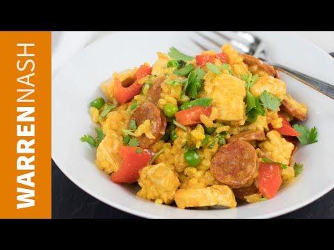 Chicken and Chorizo Paella Recipe - Easy Spanish Food - Recipes by Warren Nash