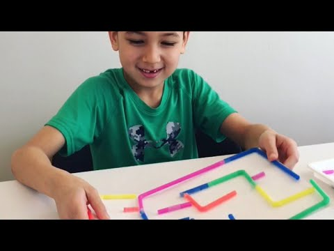 Maze building with straws - kids experiment