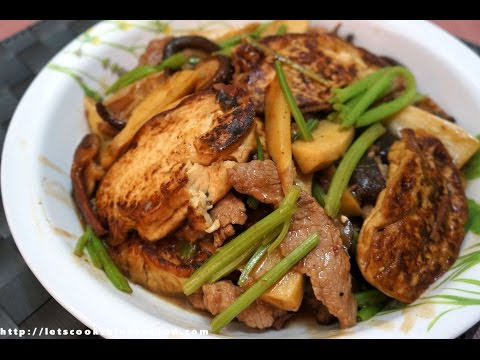 Chinese Recipe : Braised Bean Curd with Pork