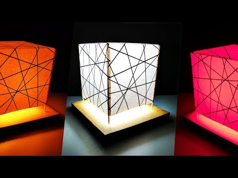 How to make Night Lamp Light Stand from Paper and cardboard DIY