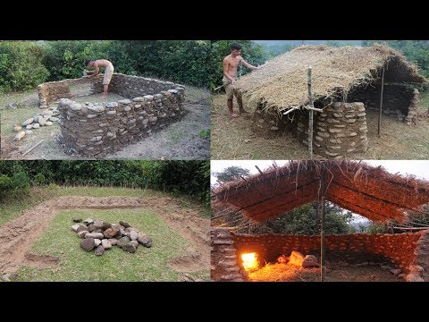 Primitive Technology: Build a Stone House - Full Video