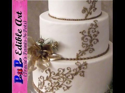 Scroll Work Wedding Cake with Royal Icing
