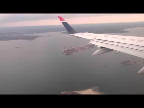 New York City arriving and landing at LGA airport
