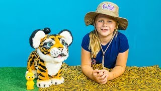 ASSISTANT with Furreal Tiger and Wiggles in a Ball Pit TheEngineeringFamily Video