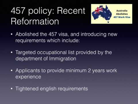 Issues Regarding the Skilled Temporary Subclass 457 Visa