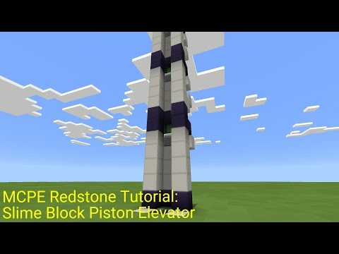 Minecraft Pocket Edition Redstone Tutorial: Slime Block Piston Elevator (MCPE 1.0.5)