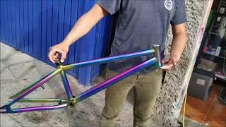 Mengecat Sepeda Bukan Bmx Motif Simple Warna Stabilo Pondoh Custom