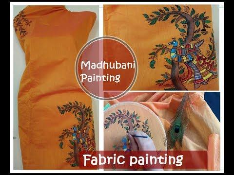Fabric painting / madhubani painting / simple painting on fabric/ tutorial