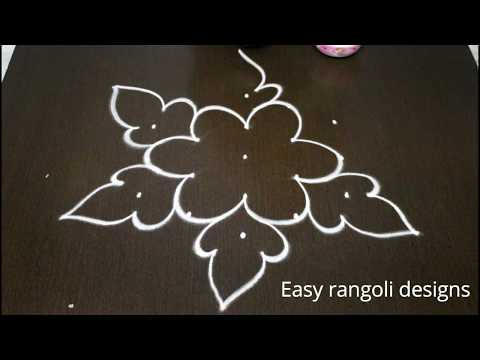 how to draw simple rangoli designs with 5x3 middle dots *beautiful kolam *easy chikkala muggulu