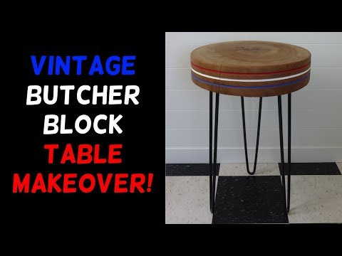 Vintage Butcher Block Hairpin Table Makeover!