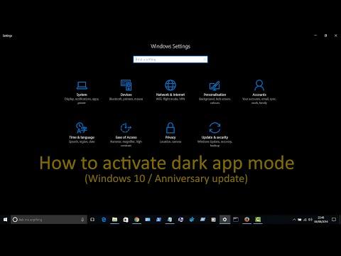 How to enable dark app mode / Black theme (Windows 10 / Anniversary Update)