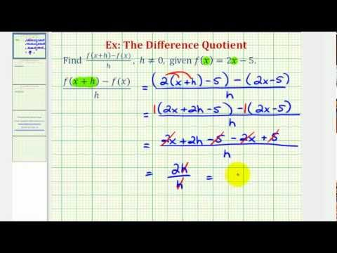 Ex 1:  The Difference Quotient (Linear Function)