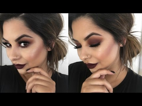 Burgundy Smokey Eyes & Bold Lips | Fall Makeup