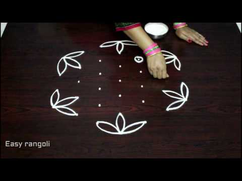 easy rangoli designs with 7x4 dots || simple kolam designs with dots || muggulu designs with dots