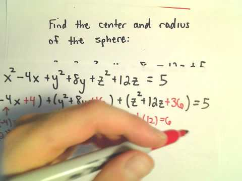 Complete the Square - Find Radius and Center of Sphere