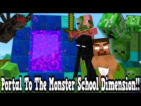 Minecraft How To Make A Portal To The Monster School Dimension - Monster School Dimension Showcase!!