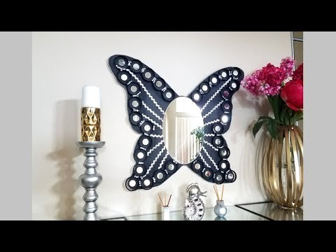 Diy Lighted Butterfly Wall Mirror| Quick and Easy Wall Mirror Idea!