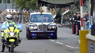 Queens Motorcade, Escort and Helicopter Leaving Brompton Barracks, Kent, UK