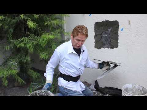 Repair stucco walls after plumbing fixes