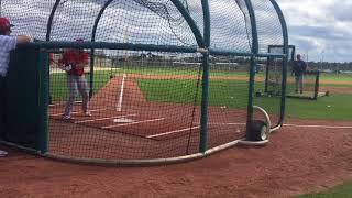 Michael Chavis, Boston Red Sox prospect, takes batting practice Feb. 19, 2018