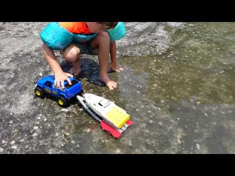 Cab playing at the boat ramp (making his own show)