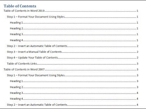 Create a Table of Contents in a Word Document