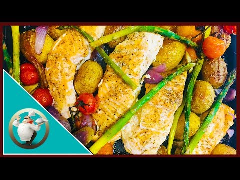 One Pan - Baked Salmon with Veggies | Easy Oven Baked Salmon And Asparagus | Salmon In 30 Min