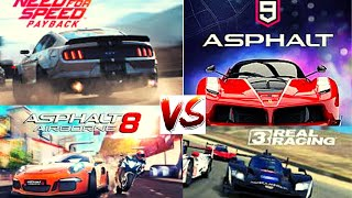 Need For Speed Most Wanted vs Asphalt 9 vs Asphalt 8 vs Real Racing 3 GAMEPLAY!