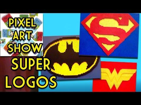 Perler Bead Tutorial: How to make 3D Superman, Batman, Wonder Woman Logos - Pixel Art Show