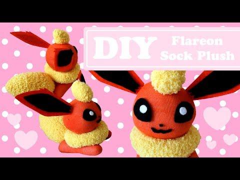 ❤ DIY Flareon Sock Plush! How To Make A Cute Pokemon Eeveelution Plushie! ❤