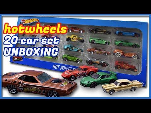 Hot Wheels  Mattel 20 Car Gift Pack Unboxing.