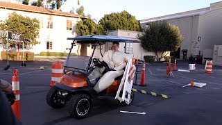 Matt Damon Sumo Suits Up for a Golf Cart Obstacle Course