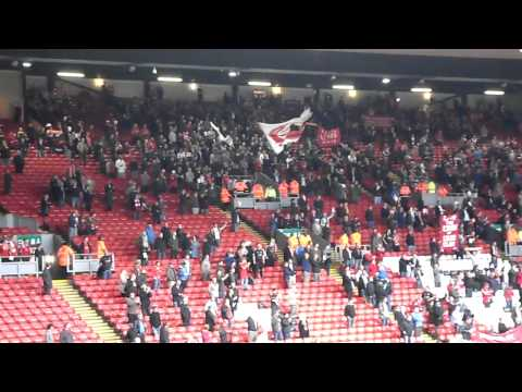 Liverpool fans protesting after Blackpool game on October 3, 2010