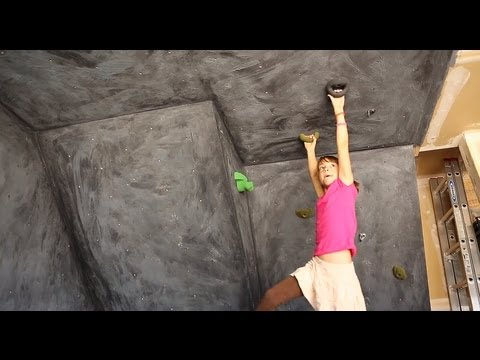 Girl Builds a Garage Climbing Wall