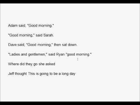 Creative Writing Dialogue Punctuation