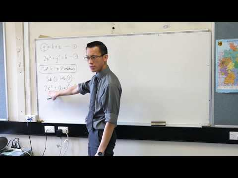 Using the Discriminant (Exam question about points of intersection)