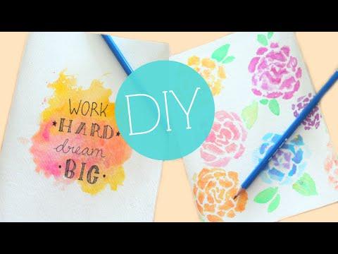DIY Tumblr Watercolor Notebook/Journal Cover | Easy DIY School Supplies