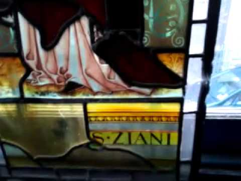SUPERB 19thc. STAINED GLASS PANEL with FULL LENGTH FIGURE of VENETIAN DOGE ZIANI