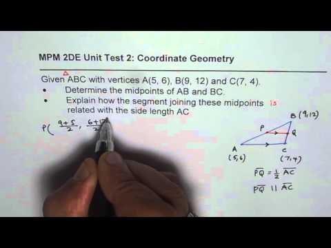 Test IB Verify Midpoints Segment of Triangle is Half the Length and Parallel to Opposite Side