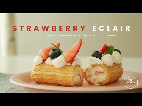 딸기 에클레어 만들기 : Strawberry Eclair Recipe : イチゴエクレア -Cookingtree쿠킹트리