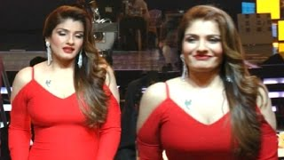 Raveena Tandon Busty Assets Revealing In Tight Dress