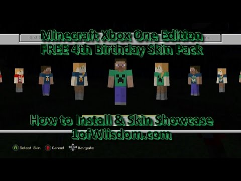Minecraft Xbox One FREE 4th Birthday Skin Pack! How to Install and Skin Showcase