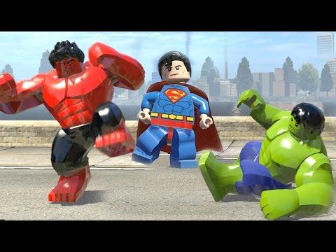 Lego Hulk (Transformation) vs Red Hulk vs SuperMan (LEGO Marvel Super Heroes)